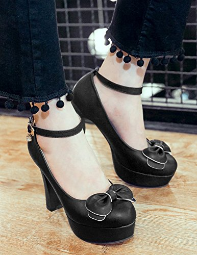 Strap Aisun Chunky With Ankle Black Buckled Low Toe High Cut Heel Bowknot Platform Round Womens Pumps CUwqxUrX