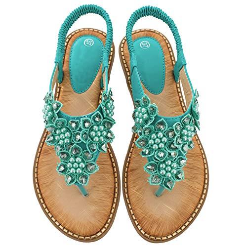 Ruiatoo Comfort Sandals for Women Bohemia T-Strap Ladies Summer Flats Sandals Rhinestone Flower Flip Flops Green 37