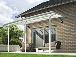 Palram Pergola Patio Cover Feria 3 X 4.25m With Robust Structure For  Year Round Use   White