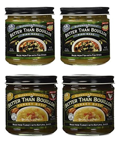Better Than Bouillon Fish Base 8 oz and Turkey Base 8 oz (2 of each) ()