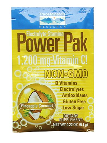 Electrolyte Stamina Power Pak Pineapple Coconut Trace Minerals 30 Packets -(6.1g) Each. Non GMO. Vitamin C. Magnesium. Potassium. Sodium. Hydration