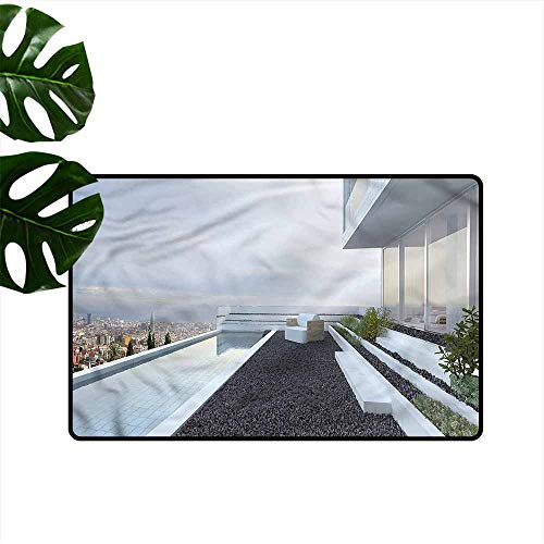 - Outdoor Door mat Modern Panoramic Pebbles and Pool Durable W24 xL35