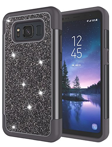 Galaxy S8 Active Case, S8 Active Case for Grils, Jeylly Glitter Luxury Crystal Dual Layer Shockproof Hard PC Soft TPU Inner Protector Case Cover for Samsung Galaxy S8 Active T-Mobile - Black