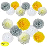 Yellow and Grey Wedding Decorations Tissue Paper Flowers Pom Poms Balls for Bridal Shower Bachelorette Anniversary Baby Girl Boy Birthday theme Party Supplies set (Yellow, Grey, Ivory, White)
