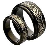 His & Her's 9MM/7MM Tungsten Carbide Step Edge Black Enamel Celtic Knot design Center Wedding Band Ring Set