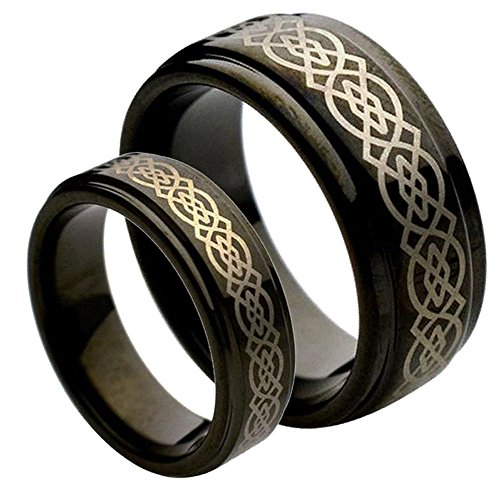 His & Her's 9MM/7MM Tungsten Carbide Step Edge Black Enamel Celtic Knot design Center Wedding Band Ring ()