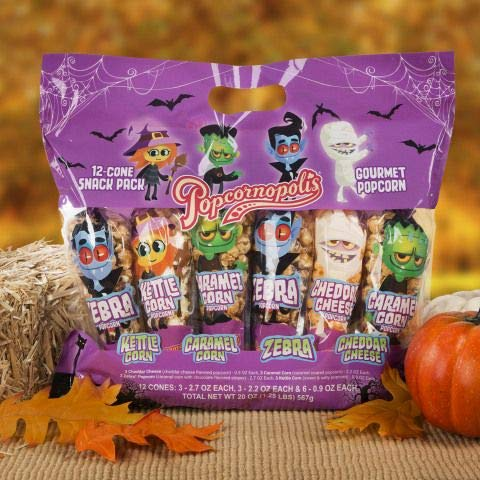 Popcorn Bag Halloween Costume (Popcornopolis Halloween 12 Cone Variety Snack Pack each 0.9 oz - 20 oz)