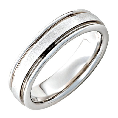 Roy Rose Jewelry ~ Serinium Grooved Edges Stone Finish Band 6mm Wide Ring ~ Size 6