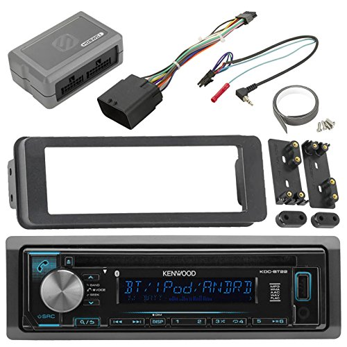 Kenwood KDCBT22 Bluetooth USB AUX CD Player Receiver w/ White Color Display, Scosche Adapter Dash Install Kit for Radio + Handle Bar Control Module - Fits 1998 2013 Harley Touring Motorcycle Bikes (Steering Pioneer Remote)