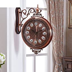 DHWJ European-style two-sided wall clock Living room large clocks on both sides Creative quartz clock-C 20inch