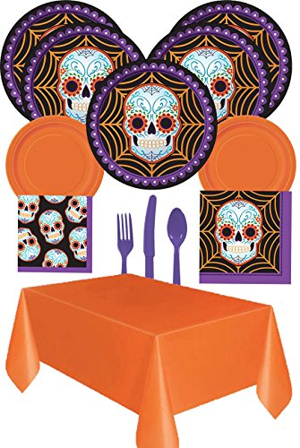 [Creative Converting Day Of The Dead Dia De Los Muertos Party Supplies Set (73 Piece) Sturdy Dinner and Dessert Plates, Napkins, Table Cover, Silverware (Serves] (Pancho Villa Costumes)