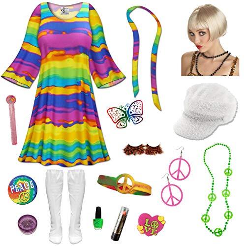 Rainbow Gogo Dancer Plus Size Halloween Costume Blonde Wig Kit -