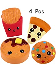 Anboor Squishies 4-delige frietjes, cake, koekje, pizza Slow Rising Super Soft Scented Kawaii Squeeze Squishy Food Pack Toys Stress Relief Gift Collection