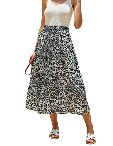 - Imysty Womens Leopard Print Long Skirts Drawstring High Waisted Bohemian Maxi Skirt (Large, Z-Grey)