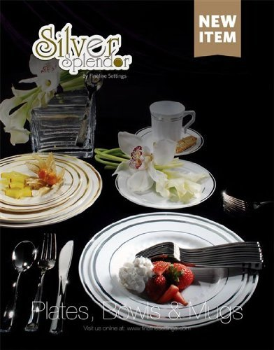 375 Pieces Plastic China Plate Silverware Combo for 75 people BONE with GOLD Reflection Masterpiece Like