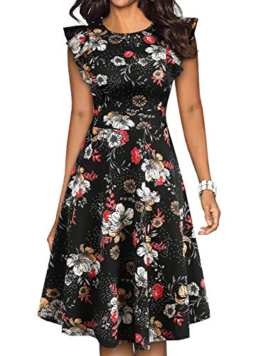 YATHON Women's Vintage Ruffle Floral Flared A Line Swing Casual Cocktail Party Dresses (M, YT001-Black Floral 05) -