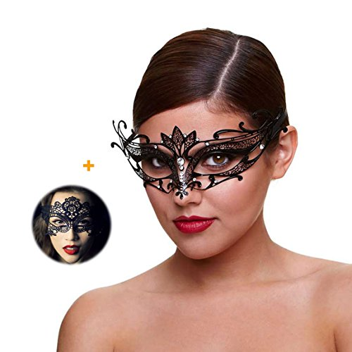 Masquerade Mask for Women Shiny Rhinestone Venetian Party Prom Ball Metal Mask (Carnival Masquerade Mask)