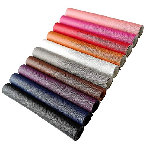 AOUXSEEM Cross Pattern Fabric Leather Sheets【10 Pcs】Synthetic Solid Color PU Faux Leather 【21 x 30 cm 】A4 Size,Perfect for Making Creative Earrings/Bows/Hand Bags/Wallets Craft DIY