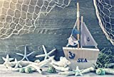 CSFOTO 8x6ft Background for Sailboat Model Starfish Nautical Themed Photography Backdrop Children Birthday Party Summer Holiday Rustic Wood Board Child Kid Photo Studio Props Vinyl Wallpaper