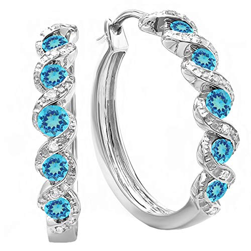 Dazzlingrock Collection 0.86 Carat (ctw) White Round Blue Topaz & White Diamond Hoop Earrings, Sterling Silver