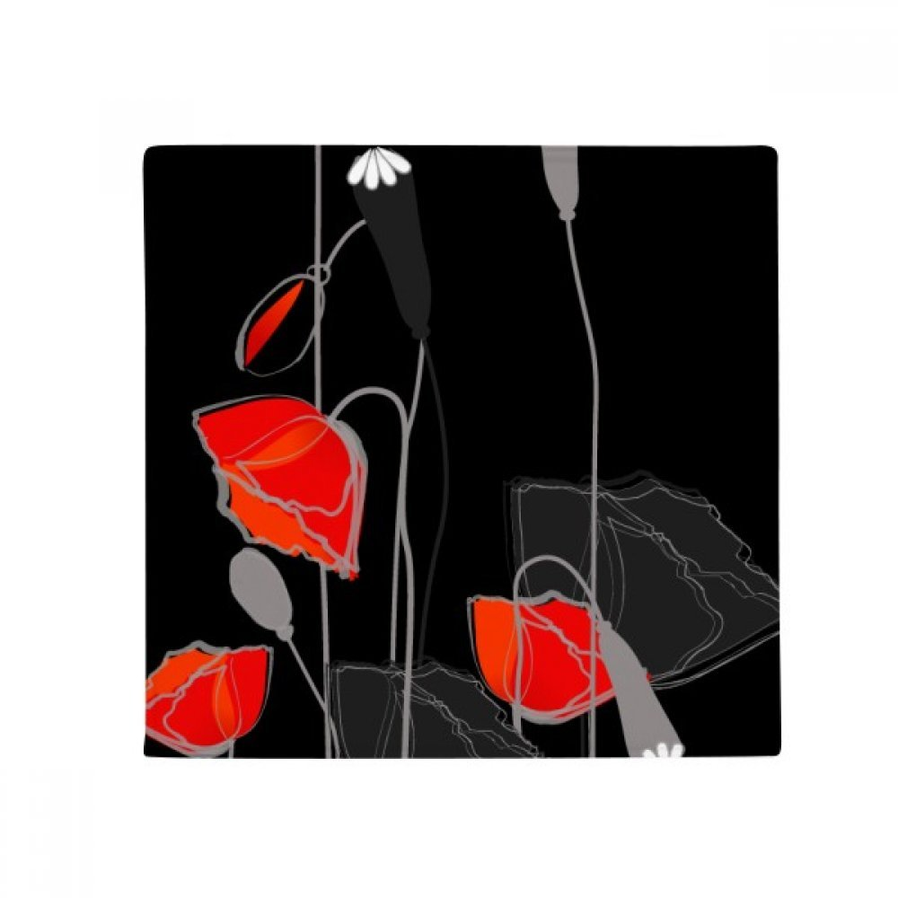 DIYthinker Red Flowers Abstract Painting Corn Poppy Anti-Slip Floor Pet Mat Square Home Kitchen Door 80Cm Gift