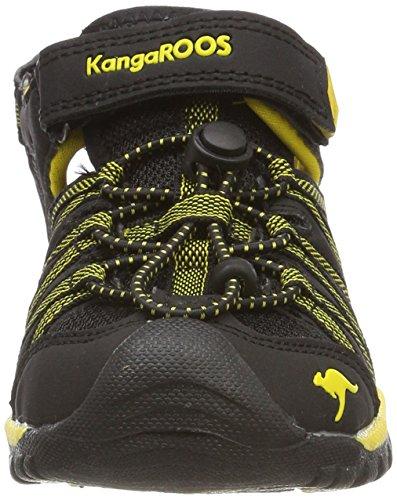 KangaROOS Unisex-Kinder Osato Sandalen Schwarz (Jet Black/Sun Yellow)