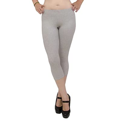 Active Basic Womens Plain Cotton Blend Capri 21 IN Leggings,Medium,Heather Gray