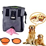 EIALA Dog Treat Training Pouch – Easily Carries Pet Toys, Kibble, Treats – Built-In Poop Bag Dispenser - with Collapsible Bowl,– 3 Ways To Wear – Grey