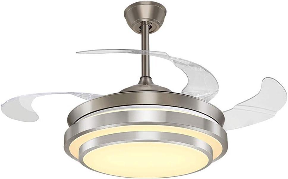 Ceiling fan light Ventilador de Techo luz Ventilador luz Invisible Ventilador de Techo con luz Simple Cristal lámpara de salón: Amazon.es: Hogar