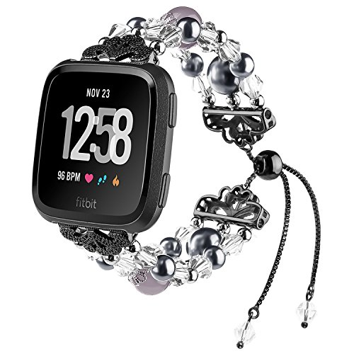 IMYMAX for Fitbit Versa Band Adjustable Crystal Pearl Bracelet Replacement Women Girls Wristband for Fitbit Versa Smart Watch Updated Style (Black)
