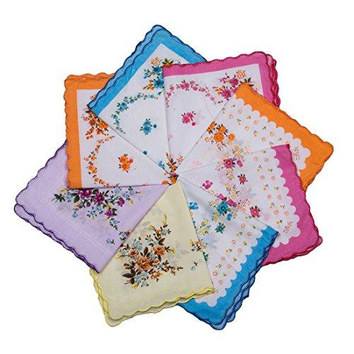 Womens Floral Vintage Handkerchiefs Hankies by BoosKey 100% Cotton for Wedding Tea Party - 6 12 24pcs (6pcs)