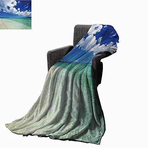 anket Island Sea Life Wavy Vivid Open Sunny Sea Shore Sand Beach Art Print Image,Super Soft and Comfortable,Suitable for Sofas,Chairs,beds ()