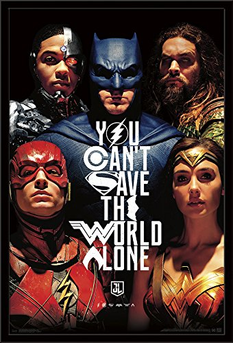 Trends International Justice League-Save the World Framed Poster, 24.25