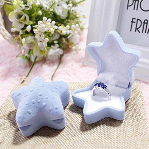 Ring Boxes,Saingace Fashion Starfish Pattern Ring Engagement Wedding Earring Ring Pendant Jewelry Display Case (Blue)