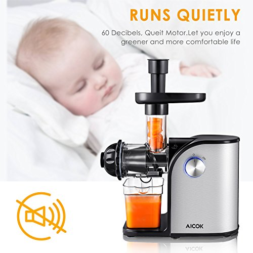 Aicok Slow Masticating juicer, Cold Press Juice Extractor, Stainless Steel, Quiet Motor, High Nutrient Fruit and Vegetable Juice, Black by AICOK (Image #3)