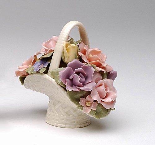 Cosmos 96364 Fine Porcelain Rose Basket Figurine, 3-3/4-Inch