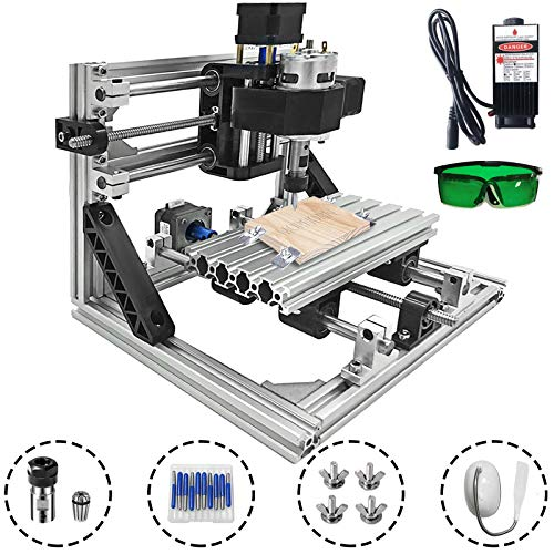 Mophorn Cnc Machine 1610 Grbl Control Cnc Router Kit 3 Axis Pcb Laser Engraver 160X100X40Mm With 2500mW Laser Head Module And Lamp