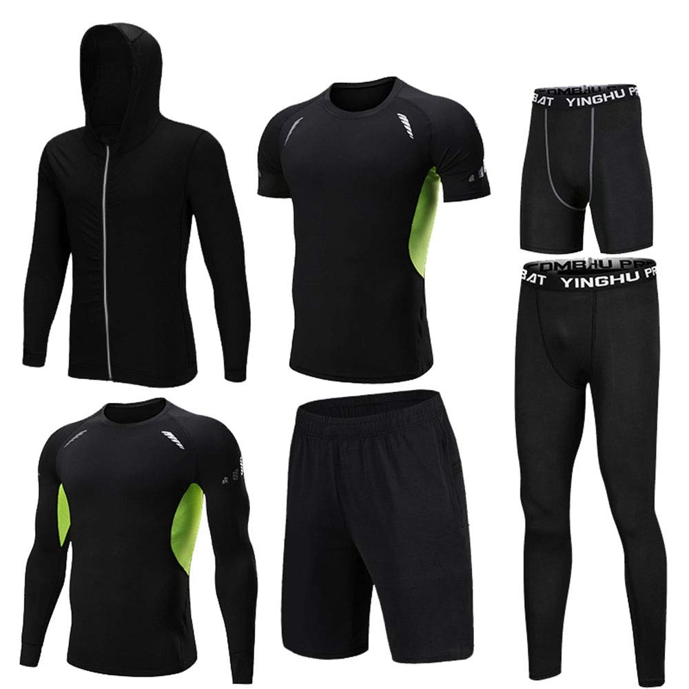 Gym Wear Fitness Bekleidung Set 6-tlg. Mens Fitness-Bekleidung mit Outwear, Compression Langarmhemd, Compression Enge Hose, Compression Kurzarm T-Shirt, Lose Shorts, Compression Tight Shorts