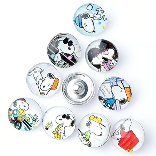 ZARABE Mix Snap Button Cute Dog Glass Rhinestone Jewelry Charms for 18MM Random ()