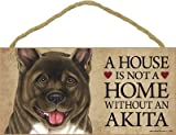 (SJT63901) A house is not a home without an Akita wood sign plaque 5