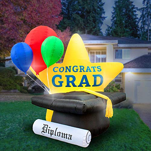 - Holidayana 8-Foot Inflatable Graduation Star, Grad Cap with Tassel, Diploma and Balloons Decoration, Includes Built-in Bulbs, Tie-Down Points, and Powerful Built-in Fan