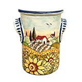 CERAMICHE D'ARTE PARRINI- Italian Ceramic Utensil Holder Vessel Hand Painted Made in ITALY Decorated Landscape Sunflowers Tuscan Art Pottery