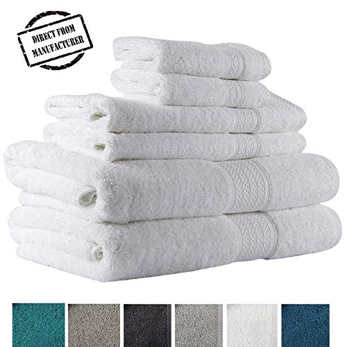 Avira Home 100% Cotton Extra Large Bath Towels Set, 6 Piece Towel Set, 2 Bath Towel, 2 Hand Towel, 2 Face Towels, 600 GSM, Machine Washable, Highly Absorbent by Avira Home