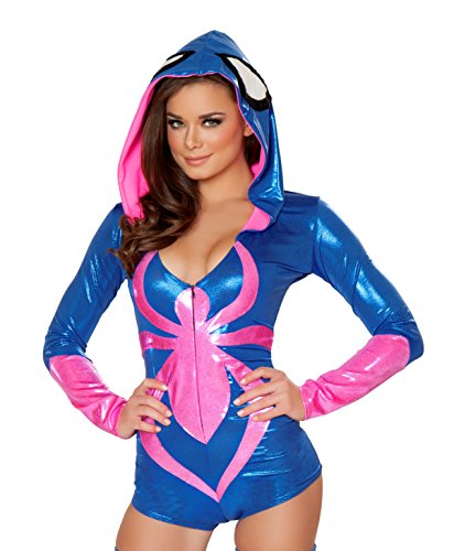 J. Valentine Women's Pink Spider Hooded Romper Costume, Blue/Pink, Small