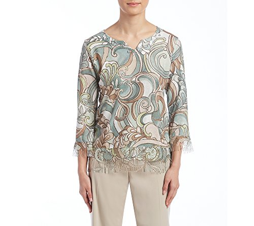 Alfred Dunner Petites' Fringe Abstract Print Top Petite X-Large (Alfred Dunner Petite Blouse)