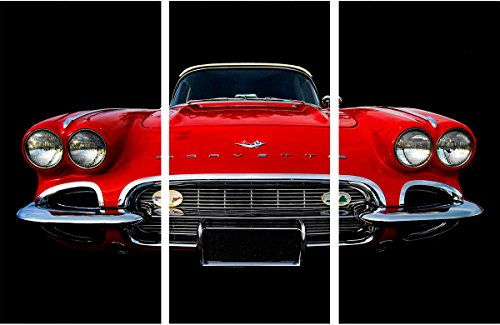 Watermark Collection 1958 Corvette  Print, Red (Bedroom Set Corvette)