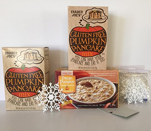Trader Joes Gluten Free Pumpkin Pancake Mix 2 pack and 1-TJ's Pecan Pumpkin Instant Oatmeal (Wheat Free) + Free Set of 12-Xmas Snowflakes and More. The Perfect Pumpkin Breakfast Bundle(3 Items)