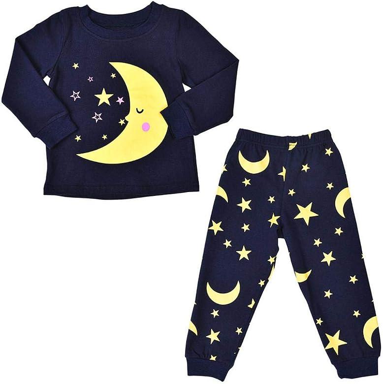 K-youth Ropa Bebe Niño Otoño Invierno Ofertas Luna Estrellas Infantil Bebé Niña Camisa de Pijama de Manga Larga para niño Camisetas Blusas + ...