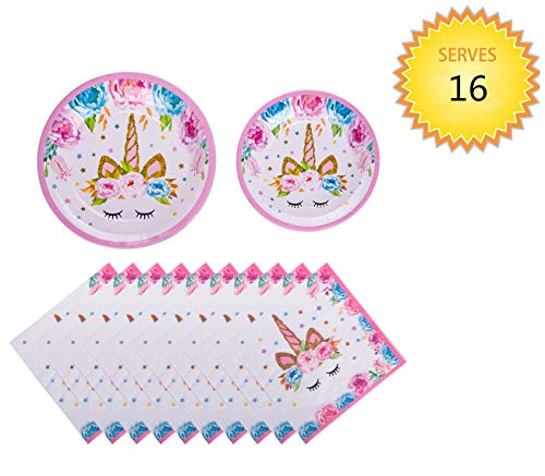 Unicorn Paper Plates and Napkins - Daughters Girls Birthday Party Decorations Unicorn Themed Birthday Party Supplies for Girls Unicorn Party and Baby Shower Decoration, Serves 16 Guests
