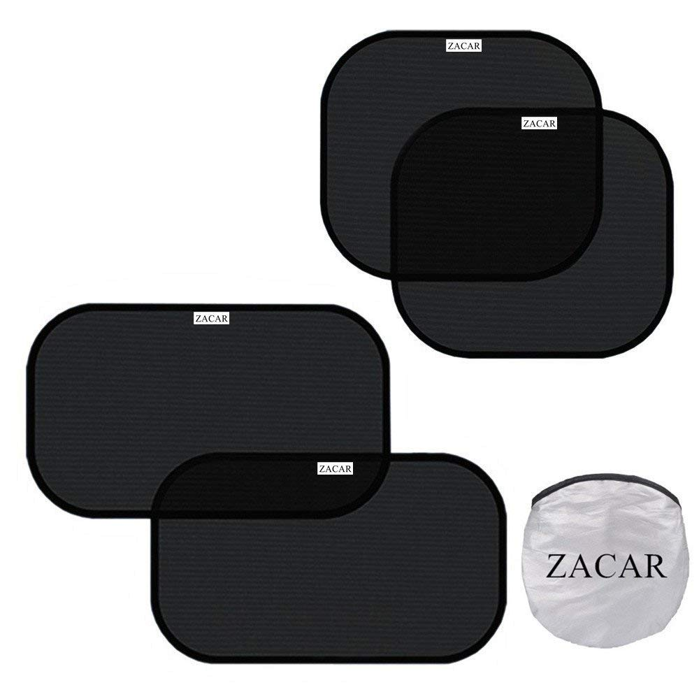 ZACAR Car Window Shade ( 4 Pack ) , 2 Pack 20'x12' and 2 Pack 17'x14' for side window, Cling Sunshade For Car Windows Protect your baby in the back seat from sun glare and heat. Blocks over 99% of harmful UV 2 Pack 20x12 and 2 Pack 17x14 for side window